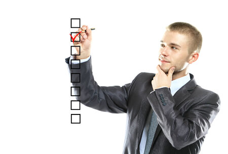 answer approve of: business man choose check mark on box Stock Photo