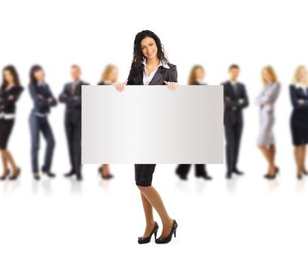 ビジネスの女性と、バナー広告、白い背景上に分離されて完全な長さの肖像画を保持しているグループ。 写真素材