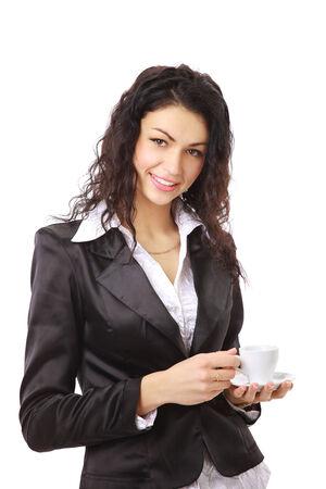 コーヒーのカップを持つ女性実業家