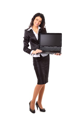 copys pace: Brunette young businesswoman showing a laptop screen with copys pace  Stock Photo