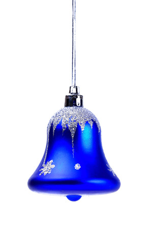 campanas de navidad: Navidad azul de Bell aislado en blanco Foto de archivo