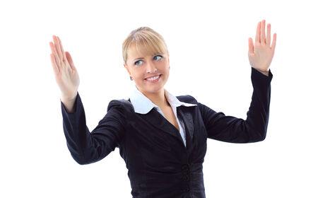 白い背景の上の手で何かのサイズについて自慢するビジネスの女性の肖像画 写真素材