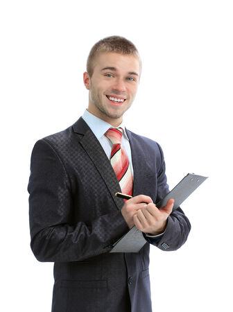 ビジネスマンは、白い背景で隔離のクリップボードに書き込み 写真素材