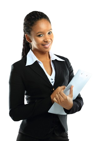 african business: Portrait of an attractive young american african business woman with clipboard  Stock Photo