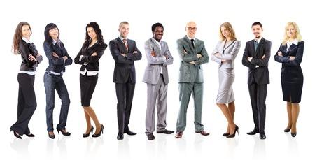 ビジネス チームは白い背景の上に立っている若いビジネスマンの形成