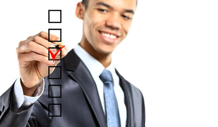 african businessman choosing one of three options photo