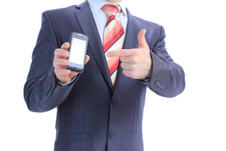 telco: Businessman showing and handing a mobile phone