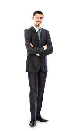手で立っている青年実業家の完全な長さの肖像画 写真素材
