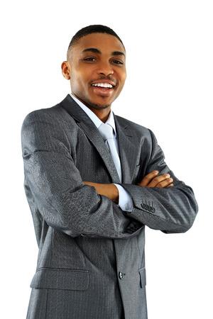 腕を持つアフリカ系アメリカ人のビジネスマンの肖像画は渡ったホワイト バック グラウンド分離
