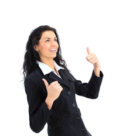 An attractive young woman gesturing thumbs up sign with both hands on a white background  photo