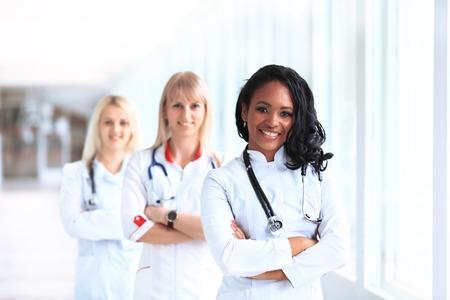 beautiful african american female pediatric nurse in modern hospital photo