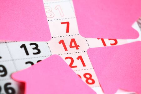 reminding: Calender page with a detail of the valentine day