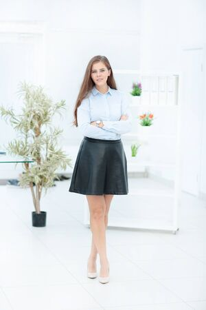 Modern business woman in the office with copy space in office