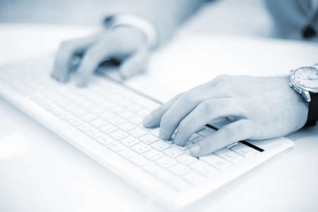 Image of mans hands typing. Selective focus Stock fotó