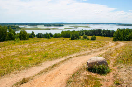 braslav: National Park Braslav Lakes. Summer landscape with a lake. Belarus.