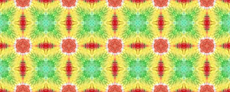 Tie Dye Background. Colorful Natural Ethnic Illustration. Asian Backdrop.  Blue, Yellow, Red and Green Textile Print. Colorful Tie Dye Background.
