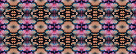 Geometric Painting. Black and Pink Snake Seamless Texture. Abstract Kaleidoscope Design. Seamless Tie Dye Ornament. Ikat Indonesian Print. Ethnic Geometric Hand Painting.