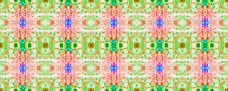 Geometric Painting. Pink and Green Seamless Texture. Seamless Tie Dye Rapport. Ikat African Motif. Abstract Kaleidoscope Design. Ethnic Geometric Hand Painting.
