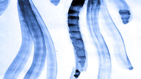 Watercolour Print. Simple Illustration. Cobalt Artistic Print. Tribal Design.  Cerulean Azure and Blue Navy Nature Doodle.  Watercolour Print. Abstract Decorative Invitation.