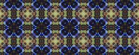 Indian Native American Pattern. Abstract Kaleidoscope Print. Repeat Tie Dye Ornament. Ikat Asian Motif. Dark Neon Seamless Texture. Indian Traditional Americal Pattern. Stock fotó