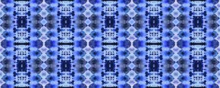 Tibetan Fabric. Seamless Tie Dye Illustration. Ikat Asian Design. Abstract Kaleidoscope Design. Indigo Seamless Texture. Tibetan Hand Drawn Fabric Print. Stock fotó