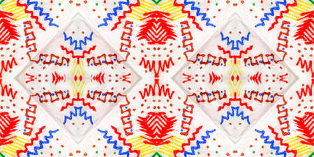 Indian Native American Pattern. Abstract Shibori Ornament. Colorful Texture. Tie Dye Hand Drawn Design. Ethnic Asian Motif. Indian Traditional Americal Pattern. Stock Photo