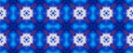 Watercolor Geometric Background. Cerulean Texture. Abstract Kaleidoscope Motif. Repeatably Tie Dye Ornament. Ikat Mexican Print. Ethnic Watercolor Geometric BG. Stock fotó