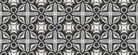 Tibetan Fabric. Repeat Tie Dye Rapport. Ikat Asian Print. Abstract Batik Print. Black and White  Monochrome Seamless Texture. Tibetan Hand Drawn Fabric Print. Stock fotó