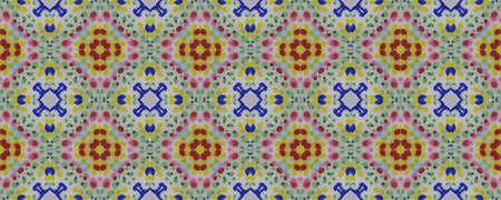 Ethnic Pattern. Seamless Tie Dye Rapport. Ikat Japanese Motif. Abstract Batik Design. Blue, Indigo, Yellow, Red Seamless Texture. Ethnic CraftHand Made Pattern. Stock fotó