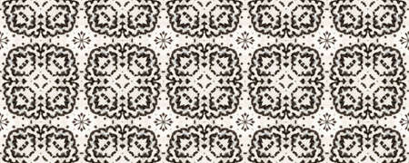 Boho Watercolor Pattern. Black and Whitee Seamless Texture. Repeat Tie Dye Rapport. Ikat African Print. Abstract Ikat Motif. Hand Drawn Boho Watercolor Pattern.