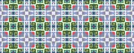 Tibetan Fabric. Repeat Tie Dye Rapport. Ikat Turkish Design. Green, Blue, Red, Indigo Seamless Texture. Abstract Kaleidoscope Motif. Tibetan Hand Drawn Fabric Print.