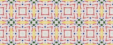 Arab Pattern. Green, Red, Yellow, Blue Seamless Texture. Abstract Ikat Motif. Repeat Tie Dye Ornament. Ikat Indonesian Motif. Ethnic Arab Geometric Pattern.