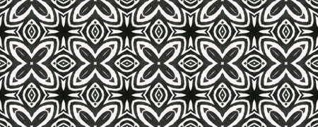 Aztec Lace Pattern. Repeat Tie Dye Illustration. Ikat Mexican Design. Black and White  Monochrome Seamless Texture. Abstract Shibori Print. Hand Drawn Aztec Lace Pattern.