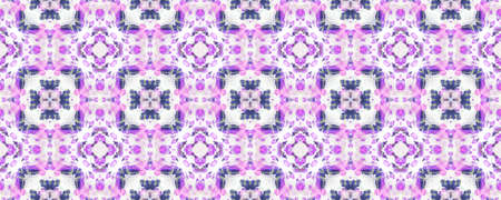 Seamless Tie Dye Pattern. Indigo and Pink Textile Print. Traditional Backdrop.  Colorful Natural Ethnic Illustration. Seamless Tie Dye Design.