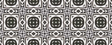 Tribal Boho Pattern. Abstract Kaleidoscope Motif. Black and White  Monochrome Seamless Texture. Seamless Tie Dye Ornament. Ikat Russia Motif. Ethnic Tribal Boho Pattern.
