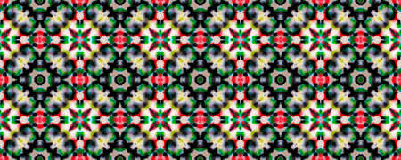 Ethnic Textile. Abstract Kaleidoscope Print. Repeat Tie Dye Ornament. Ikat African Design. Black, Green Seamless Texture. Ethnic Craft Textile Print.