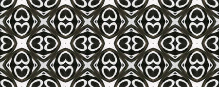 Aztec Lace Pattern. Seamless Tie Dye Ornament. Ikat Mexican Motif. Abstract Kaleidoscope Design. Black and White  Monochrome Seamless Texture. Hand Drawn Aztec Lace Pattern.