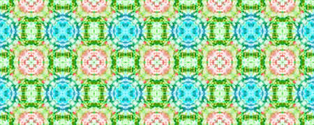 Ethnic Aztec Pattern. Abstract Shibori Design. Repeat Tie Dye Rapport. Ikat Asian Motif. Pink and Green Seamless Texture. Ethnic Aztec Hand Drawn Pattern.