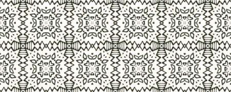 Tribal Boho Pattern. Repeat Tie Dye Illustration. Ikat African Print. Abstract Ikat Print. Black and Whitee Seamless Texture. Ethnic Tribal Boho Pattern.