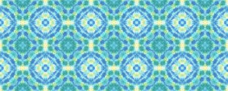 Batik Brush. Asian Backdrop.  Blue and Yellow Textile Print. Rainbow Natural Ethnic Illustration. Shibori or Batik Brush Style. Stock fotó