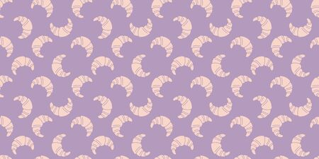 Pink croissants illustration seamless pattern on lavender endless background Иллюстрация
