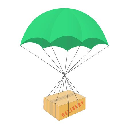 Contactless delivery of box with parachute color illustration. Isolated icon on white background. Contact free delivery Vetores