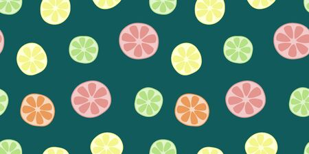 Citrus fruits seamless pattern. Bright colorful endless background with grapefruit, orange, lemon, and lime