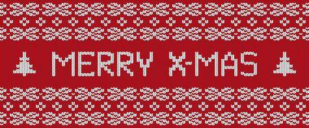 Joyeux Noël carte postale tricotée à la main. Texture de pull d'hiver rouge. Bannière réaliste chaleureuse et confortable modifiable. Vecteurs