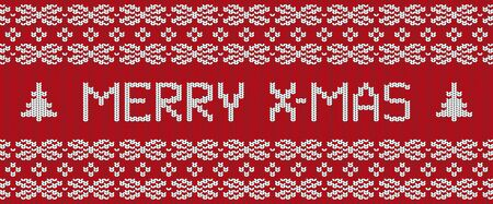 Merry Christmas hand-knitted post card. Red winter sweater texture. Editable cozy warm realistic banner. Vektorgrafik