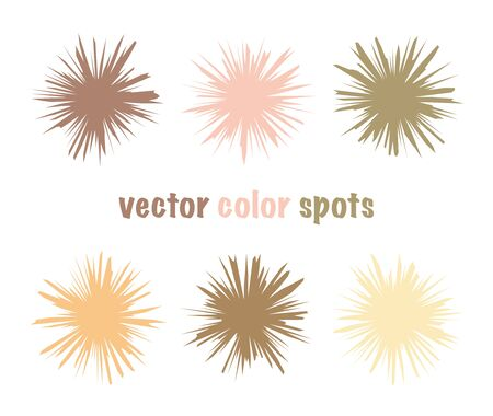 Set of color editable sharp spots. Nude pastel crystal circles. Gentle beige abstract shapes for your design