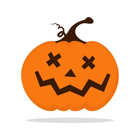 Halloween pumpkin with carved face cartoon isolated illustration on white background. Cute smiling Jack Lantern icon