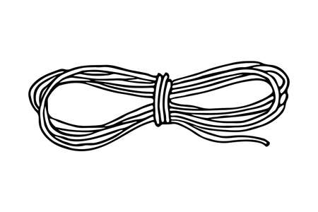 A climbing rope for camping doodle hand drawn black isolated icon. A string for hiking, local tourism illustration