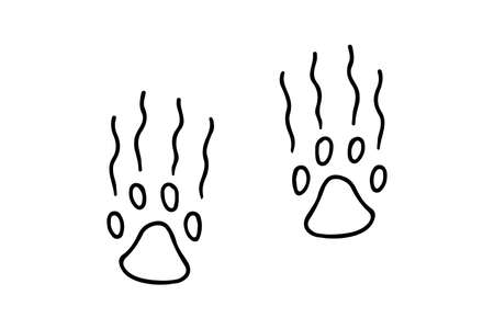 Trace of a wild animal editable doodle hand drawn icon. Beast footpath, paw trail in the forest isolated illustration