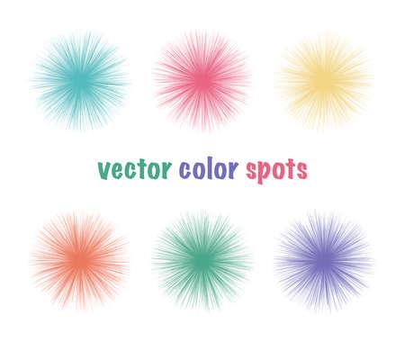 Set of vector bright color fur spots. Bright circles. Summer color abstract shapes